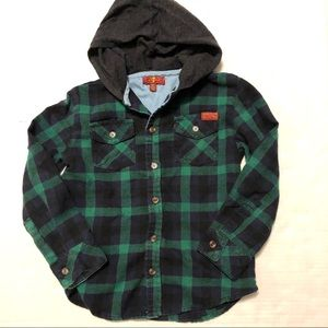 7 For All Mankind Toddler Hooded Flannel Shirt 4T